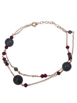 Ροζ επίχρυσο βραχιόλι 925 με πέτρες αχάτη D027206 D027206
