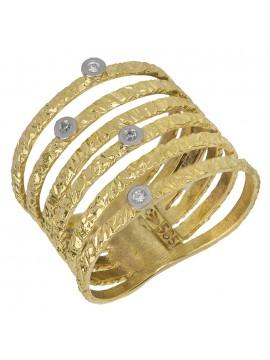Γυναικείο χρυσό δαχτυλίδι σφυρήλατο Κ14 D027367