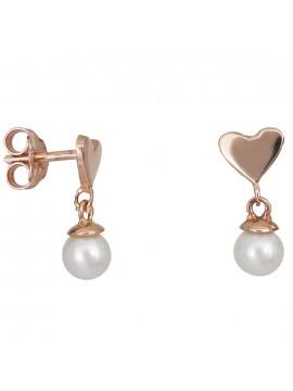 Ροζ χρυσά σκουλαρίκια Κ14 με καρδούλα και μαργαριταράκι D027413 D027413