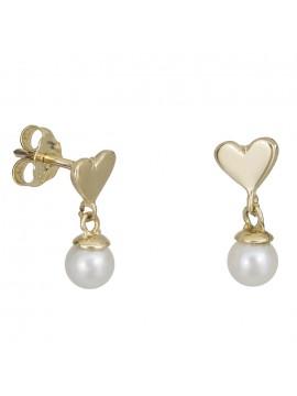 Χρυσά σκουλαρίκια Κ14 με καρδούλα και μαργαριταράκι D027414 D027414