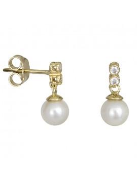 Χρυσά σκουλαρίκια Κ14 με μαργαριτάρια και ζιργκόν D027424 D027424