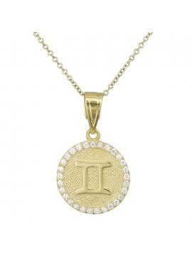 Χρυσό γυναικείο κολιέ Κ9 Δίδυμος με πέτρες D027756 D027756