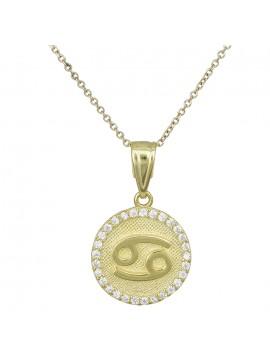 Γυναικείο χρυσό κολιέ Κ9 Καρκίνος με πέτρες D027757 D027757