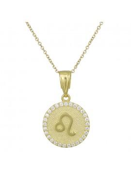 Γυναικείο χρυσό κολιέ Κ9 Λέων με πέτρες D027758 D027758