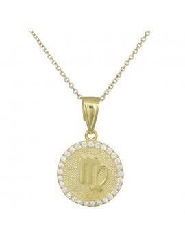 Χρυσό γυναικείο κολιέ Κ9 Παρθένος με πέτρες D027759 D027759