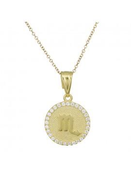 Χρυσό γυναικείο κολιέ Κ9 Σκορπιός με πέτρες D027761 D027761