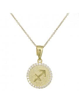 Γυναικείο χρυσό κολιέ Κ9 Τοξότης με πέτρες D027762 D027762