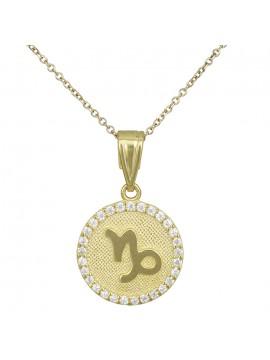 Γυναικείο χρυσό κολιέ Κ9 Αιγόκερως με πέτρες D027763 D027763
