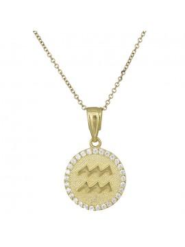 Γυναικείο χρυσό κολιέ Κ9 Υδροχόος με πέτρες D027764 D027764
