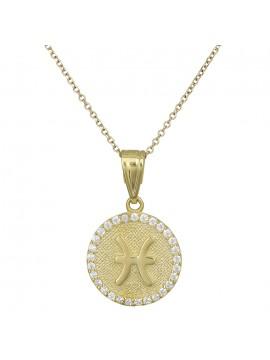 Γυναικείο χρυσό κολιέ Κ9 Ιχθείς με πέτρες D027765 D027765