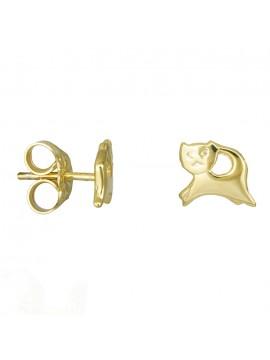 Χρυσά παιδικά σκουλαρίκια Κ14 λουστρέ γατούλα D027786 D027786