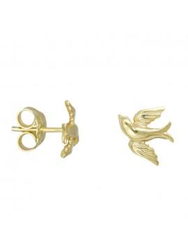 Χρυσά παιδικά σκουλαρίκια Κ14 ανάγλυφα χελιδονάκια D027792 D027792