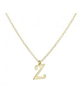 """Χρυσό κολιέ Κ9 με κρεμαστό μονόγραμμα """"Ζ"""" D027850 D027850"""
