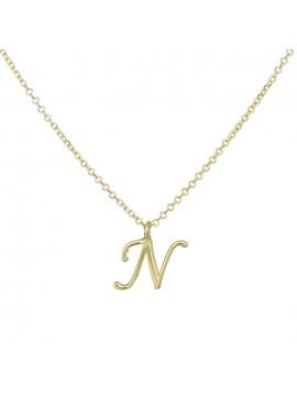 """Γυναικείο κολιέ σε χρυσό Κ9 με μονόγραμμα """"Ν"""" D027856 D027856"""