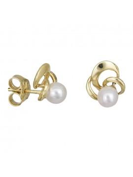Γυναικεία χρυσά σκουλαρίκια Κ14 μαργαριτάρι D027877 D027877