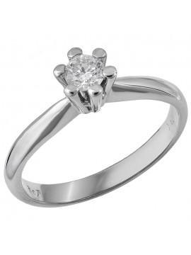 Λευκόχρυσο δαχτυλίδι γάμου με μπριγιάν Κ18 D028386 D028386