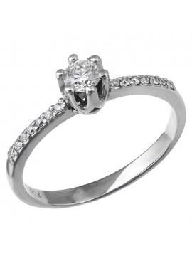 Μονόπετρο δαχτυλίδι γάμου με διαμάντια Κ18 D028391 D028391