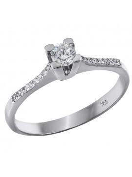 Μονόπετρο δαχτυλίδι γάμου με διαμάντια Κ18 D028395 D028395