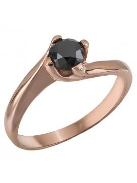 Ροζ χρυσό μονόπετρο με μαύρο διαμάντι Κ18 D028403 D028403