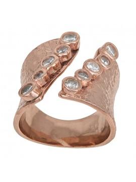 Ροζ επίχρυσο δαχτυλίδι 925 σφυρήλατο με ζιργκόν D028720 D028720