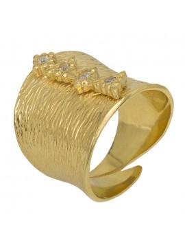 Επίχρυσο δαχτυλίδι 925 σφυρήλατο με ζιργκόν D028721 D028721