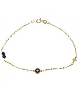 Χρυσό γυναικείο βραχιόλι Κ9 με μαύρο ματάκι D028883 D028883