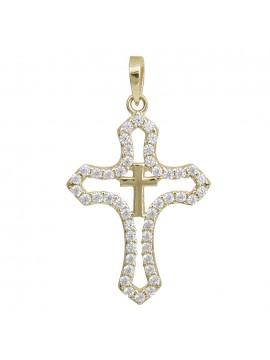 Χρυσός γυναικείος σταυρός Κ14 με ζιργκόν D028985 D028985