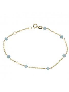Γυναικείο χρυσό βραχιόλι Κ9 με γαλάζιες πέτρες D029031 D029031