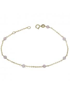 Χρυσό γυναικείο βραχιόλι Κ9 με ροζ πέτρες D029032 D029032
