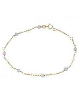 Χρυσό βραχιόλι Κ9 με ροζ και γαλάζιες πέτρες D029033 D029033