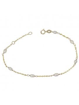 Χρυσό βραχιόλι Κ9 με λευκά μαργαριταράκια D029034 D029034