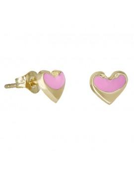 Χρυσά σκουλαρίκια Κ9 καρδούλες με ροζ σμάλτο 029097 D029097