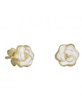 Χρυσά σκουλαρίκια Κ9 τριανταφυλλάκια λευκά 029101 D029101