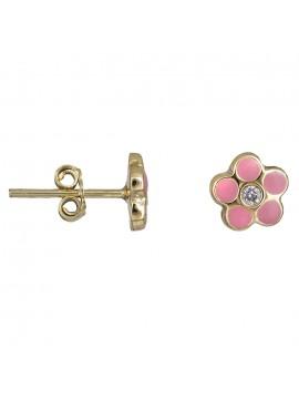 Χρυσά σκουλαρίκια Κ9 ροζ λουλουδάκια 029104 D029104