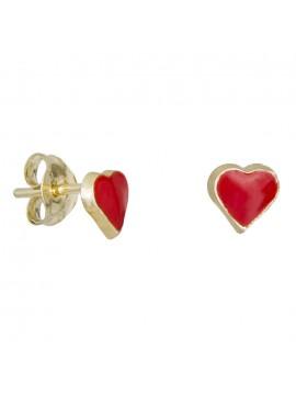 Χρυσά σκουλαρίκια Κ9 κόκκινες καρδούλες 029110 D029110