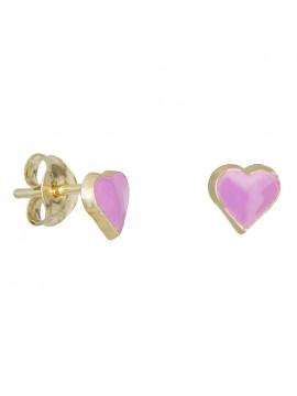 Χειροποίητα σκουλαρίκια Κ9 ροζ καρδούλες 029122 D029122