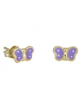 Χρυσά σκουλαρίκια Κ9 πεταλούδες μωβ 029125 D029125