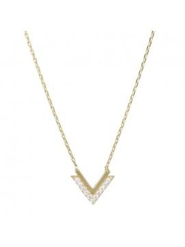 Γυναικείο χρυσό κολιέ Κ14 με πέτρες ζιργκόν D029298 D029298