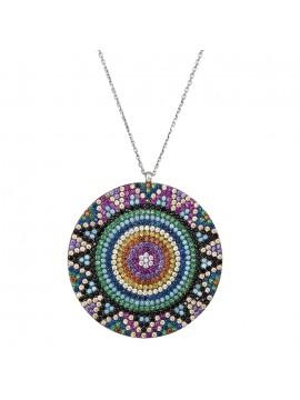 Γυναικείο boho κολιέ ασημένιο 925 με πολύχρωμες πέτρες D029421 D029421