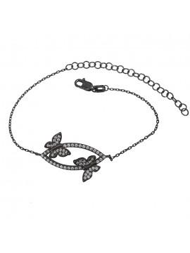 Βραχιόλι από μαύρο επιπλατινωμένο ασήμι 925 με πεταλούδες D029436 D029436