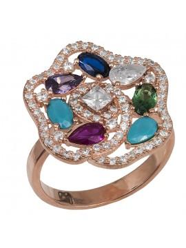 Ροζ επίχρυσο δαχτυλίδι 925 με πολύχρωμο λουλούδι D029449 D029449