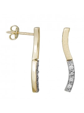 Χρυσά σκουλαρίκια Κ9 κυματιστή μπάρα με ζιργκόν D029664 D029664