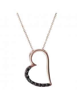 Ροζ χρυσό κολιέ Κ14 καρδιά με μαύρες ζιργκόν D029802 D029802