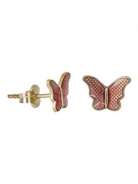 Χρυσά παιδικά σκουλαρίκια 9Κ πεταλούδες D030789 D030789