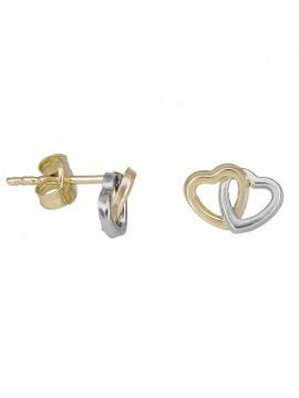 Χρυσά σκουλαρίκια Κ9 καρδιές 030792 D030792