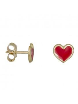 Σκουλαρίκια χρυσά 14Κ κόκκινες καρδούλες D030799 D030799