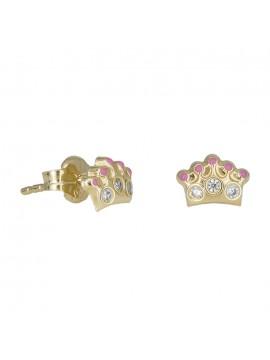 Σκουλαρίκια χρυσά 14Κ κορώνες με ζιργκόν πέτρες D030804 D030804