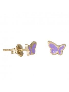 Παιδικά χρυσά σκουλαρίκια Κ14 πεταλούδα D030824 D030824