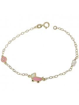 Χρυσό παιδικό βραχιόλι Κ14 με ροζ καροτσάκι D031355 D031355