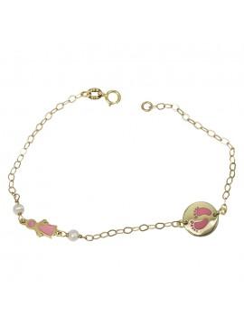 Χρυσό παιδικό βραχιόλι 14Κ με ροζ πατουσάκια D031358 D031358